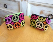 Colorful Peace Sign and Grey/Pink Suiting Coin Purses