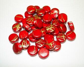 Red Drawbench Acrylic Flat Round Beads (Qty 40) - B2009