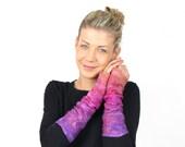 felted, felt, mittens, gloves,  wrist, warmers, wool, cuffs,  silk, pink