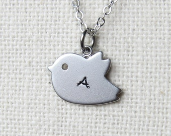 Baby Bird Personalized Hand-stamped initial Name Necklace