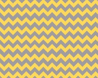 Tone on Tone Gray / Yellow Small Chevron C400-11 from Riley Blake Fabrics 1/2 yard