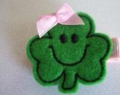 Boutique St. Patricks Day Green Shamrock Felt Hair Clippie