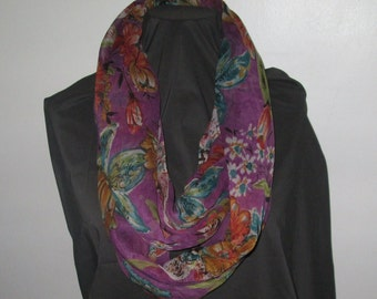 Adorable Infinity Chiffon Scarf,  Loop scarf, Lightweight  Scarf, Circle Scarf