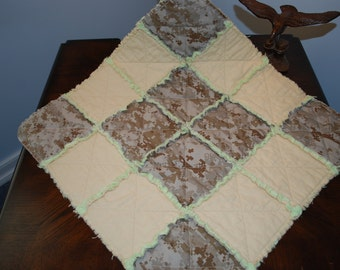 "USMC MARPAT Desert Camouflage Lovie Baby Rag Quilt, 21"" x 21"""
