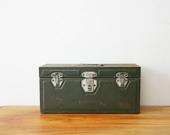 vintage 50s Olive Green Union Utility Chest Tool Box