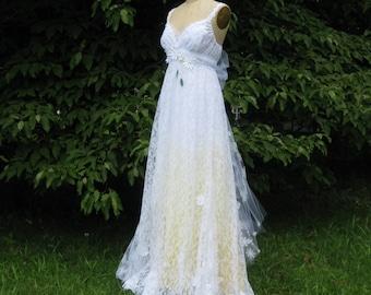 Yellow Daisy Lace Wedding Dress, Boho Wedding Dress, Hippie Wedding Dress, Beach Wedding Dress, Unique Wedding Dress, Ombre wedding Dress