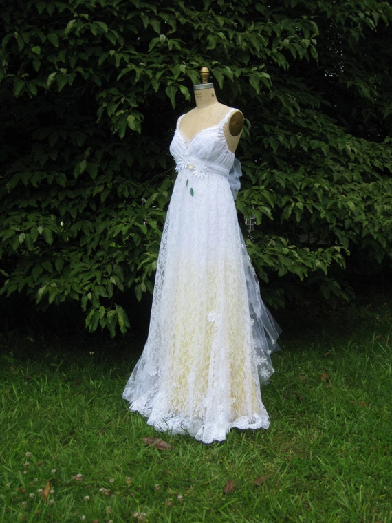 yellow daisy lace wedding dress