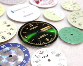 Steam Punk Supplies Vintage Rescued Watch Faces Scrapbooking Assemblage Mixed Media Green Assortment A5