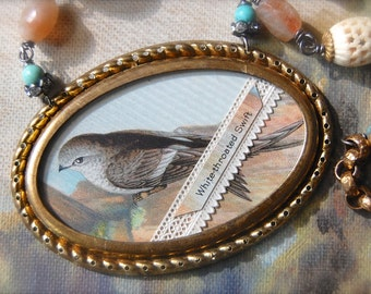 The White-Throated Swift-Antique Vintage Tobacco Trading Card Premium Assemblage Necklace