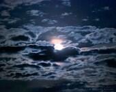 Blue Moon Photo -Full Moon -Dreamy Photography -Nursery Decor -Cobalt Blue -Night Sky -Blue Moon Wall Art -Colorado Fine Art Photography