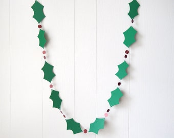 Holly Garland Christmas Decoration Paper Garland Adjustable