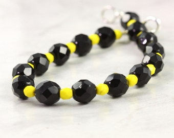 Yellow Black Halloween Jewelry Bracelet Honey Bee Sunshine Yellow Jet Black Czech Glass Accessory