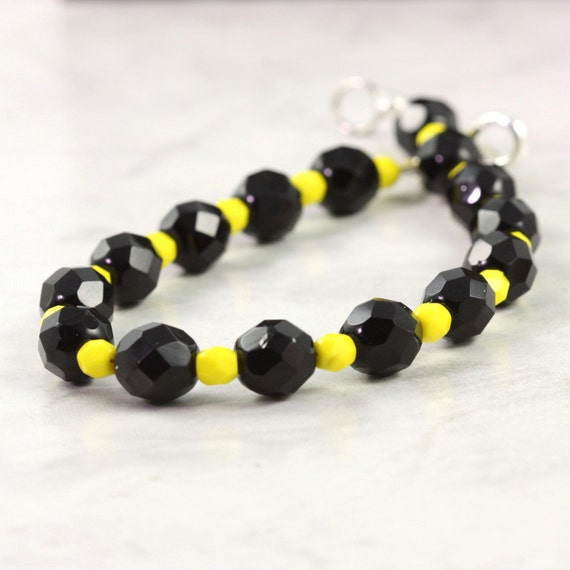 Yellow Black Halloween Jewelry Bracelet Honey Bee Sunshine Yellow Jet Black Czech Glass Accessory
