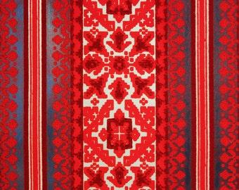 1970's Vintage Wallpaper Red Flocked Design on Metallic Gold with Black Stripes