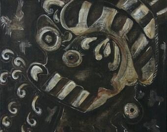 "Hot Air - Pharisee - 12""x12"" ORIGINAL painting on canvas, brown black painting of a Pharisee who talks talks and talks"