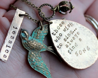 Free shipping. Brass Bird Handstamped Charm Necklace. Name. Song Quote those who wish to sing always find a song