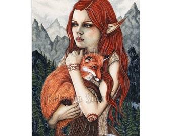 The Protector ACEO Print Fox Elf Fantasy Art Nature Artist Trading Cards ATC Fantasy Art Orange Mountains Portrait fur