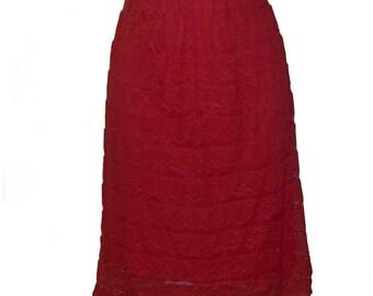 60s slip half all lace over nylon in geranium red small