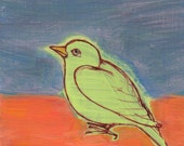 Light Spring Green Bird on Gray-Blue and Orange - original painting, small painting, fine art by Irene Stapleford - wantknot shop