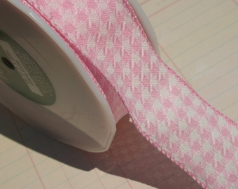 "Pink Woven Houndstooth Trim - May Arts Ribbon - 1 1/2"" Wide - 3 Yards - SALE"