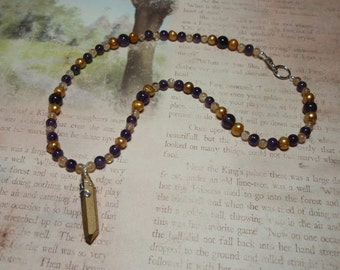 Golden Crystal - Amethyst Citrine and Quartz Crystal Gemstone and Golden Freshwater Pearls Necklace