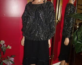 Vintage   2-pc Garment  Handmade Blouse  Balck Dress   Size 16