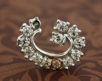 Rhinestone Letter G Monogram Brooch - Vintage Costume Jewelry Pin
