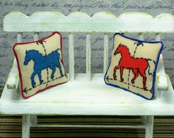 Horse Pillows Carousel Weather Vane Blue Red 1:12 Dollhouse Miniatures