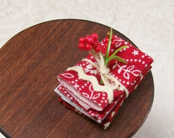 Red Tea Towels White Kitchen 1:12 Dollhouse Miniatures Scale Artisan