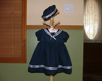 Baby Girl Sailor Dress and Hat