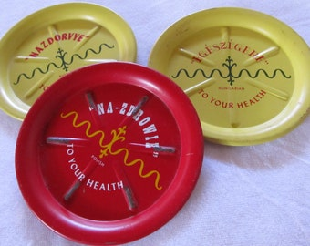 vintage TO YOUR HEALTH -- metal ashtrays or coasters-- 1950s -- lot of 3