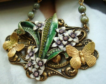 Necklace, Jewelry, Jewels Of Mother Nature, Butterflies, Forget Me Nots, Gorgeous Glass Beads, Quality French Twist Chain, Handmade, USA