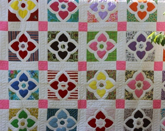 Vintage Hearts and Flowers Quilt Hand Made 1960s or 1970s Vintage Quilt Antique Bright Colorful Antique Quilt New Old Stock Not Laundered