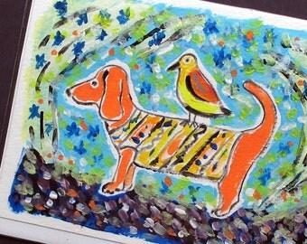 Bird and Dog - Art Card - Hand Painted Card