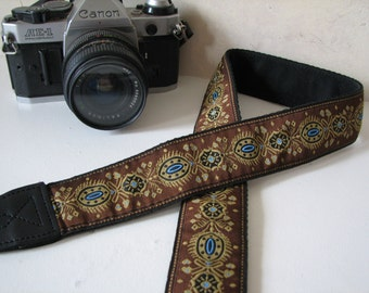camera strap - JESSIE, Brown trim (Extended Length - NO branding)