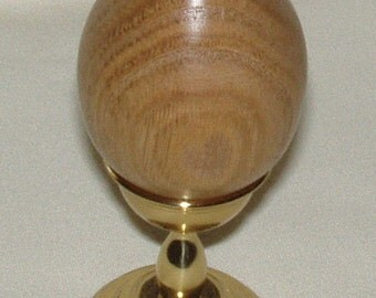 Wooden Egg, Chinese Chestnut w Brass Stand