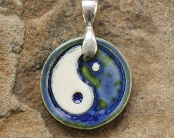 Deep Blue Yin Yang Pendant