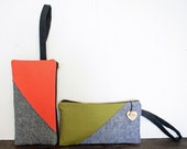 WC Wristlet- linen and canvas wristlets in coral/grey or olive/blue-Ready to Ship