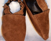 Moxies soft soled leather baby shoes 2 tone brown suede choose size - softsoul baby shoes leather and suede ,leather moccasins