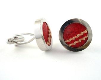 Cricket Ball Cufflinks - Cufflinks made from Real Cricket Balls