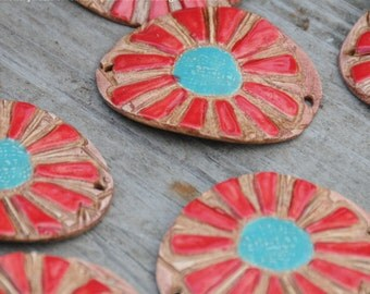 Pottery Cuff Bead, The Elli with a Flower Design in Red and Turquoise