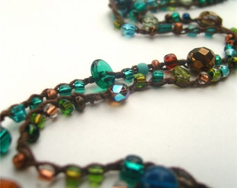Long Necklace 7X Wrap Bracelet Beaded Necklace Crochet Necklace Glass Bead Necklace Teal Copper Green Brown - MADE TO ORDER