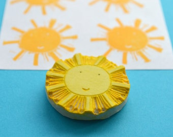 sun hand carved rubber stamp, handmade rubber stamp