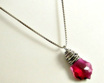 Ruby Crystal Necklace, Wire Wrapped in Sterling Silver, Crystal Pendant Necklace, Gifts for Her