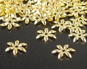 Gold Bead Cap 100 Shiny Gold Color Flower Victorian 6 point Tiny Bendable 7.5mm (1134cap07d1)xz