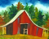 247 Barn, ORIGINAL watercolor painting with ink, framed
