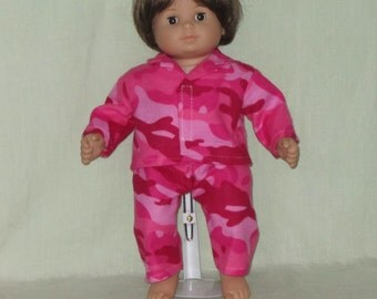 American Girl Bitty Baby size Pajamas Pink Camo