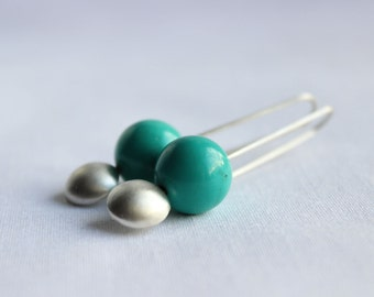 Silver Geometric earrings, Modern, minimalist design, Turquoise Magnesite, small circle, long and delicate, super light, casual occasion.