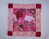 Scrappy Pinks  Coaster Mug Rug or Mini Quilt