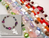 Beaded bracelet with your own drawing as a charm (movable charm)